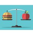 Balance hamburger and apple vector image