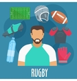 Rugby sport equipment and outfit elements vector image vector image
