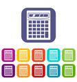 electronic calculator icons set flat vector image
