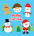 merry christmas santa and snowman cartoon vector image