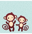 Set of funny brown monkey on light blue background vector image