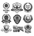 Volleyball emblems set vector image