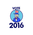 Vote 2016 Uncle Sam TopHat American Flag Circle vector image