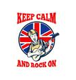Keep Calm Rock On British Flag Queen Granny Guitar vector image