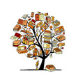 books tree sketch for your design vector image