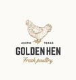golden hen fresh poultry abstract sign vector image
