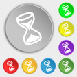hourglass icon sign Symbol on eight flat buttons vector image