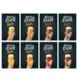 male hand holding a glass with four types beer - vector image
