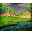 nature scene with rainy day in the field vector image