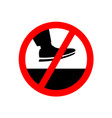 no step on the surface prohibition sign vector image