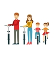 Parents And Kids With Bicycles In Park Happy vector image