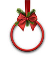 White christmas background with red bow vector image