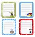 Set of cute creative cards with pirate and pirate vector image