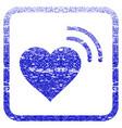 heart radio signal framed textured icon vector image