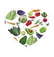 vegetables heart shape healthy symbol vector image