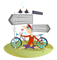 Man and a bike vector image