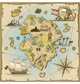 Pirate treasure island map vector image