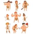 Caveman primitive people cartoon action vector image vector image