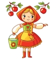 Girl collects apples in a bucket vector image