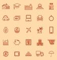 Loan line color icons on orange background vector image