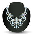 necklace women blue for marriage with pearls and p vector image vector image