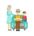Grandparents And Boy Reading A Book Happy Family vector image