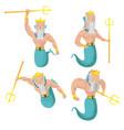 poseidon sea god character set vector image