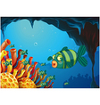 A school of stripe-colored fishes under the sea vector image vector image
