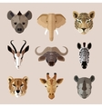Animal portrait flat icon set vector image