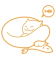 outline sleeping cat with fish vector image