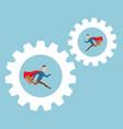 businessman running in cog gear wheels vector image
