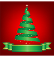 christmas card with ribbon tree vector image