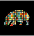 hippo mammal color silhouette animal vector image