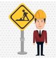 man construction tool work vector image