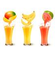 set of fruit juice splash in a glass mango vector image