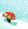 Skiing Penguin vector image