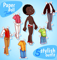 Very cute paper doll with five stylish outfits vector image