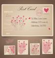 Vintage postcard background and Postage Stamps - vector image