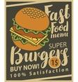 cheeseburger on retro style vector image vector image