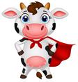 Superhero cow cartoon posing vector image