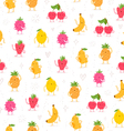 Cartoon fruit characters seamless pattern vector image