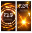 glowing golden lights banner set design vector image