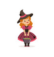 small witch girl holding bowler full of candies vector image
