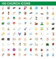 100 church icons set cartoon style vector image