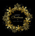 Merry Christmas and New Year gold snowflake wreath vector image vector image