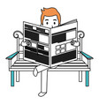 man reading newspaper in the park chair vector image