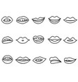 lips outline icon set vector image vector image
