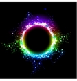 Dark background with shiny round frame vector image
