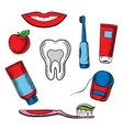 Dental hygiene objects on white background vector image