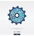flat icons in an cogwheel shape technology SEO vector image